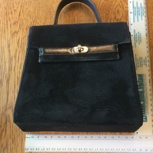 Vintage Frenchy of California Black Suede Handbag.